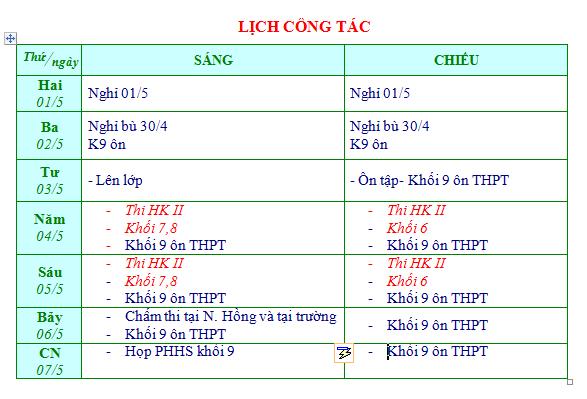 Lich CT tuan 37