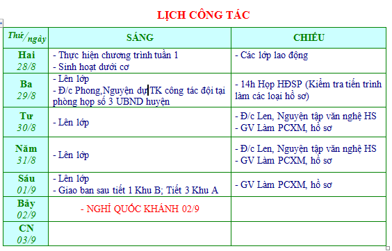 Lich cong tac tuan 1